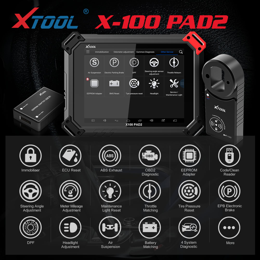 XTOOL X-100 X100 PAD2 Pro Diagnostic Tool Key Programmer Full Version with VW 4th 5th Immobilizer and Odometer Adjustment